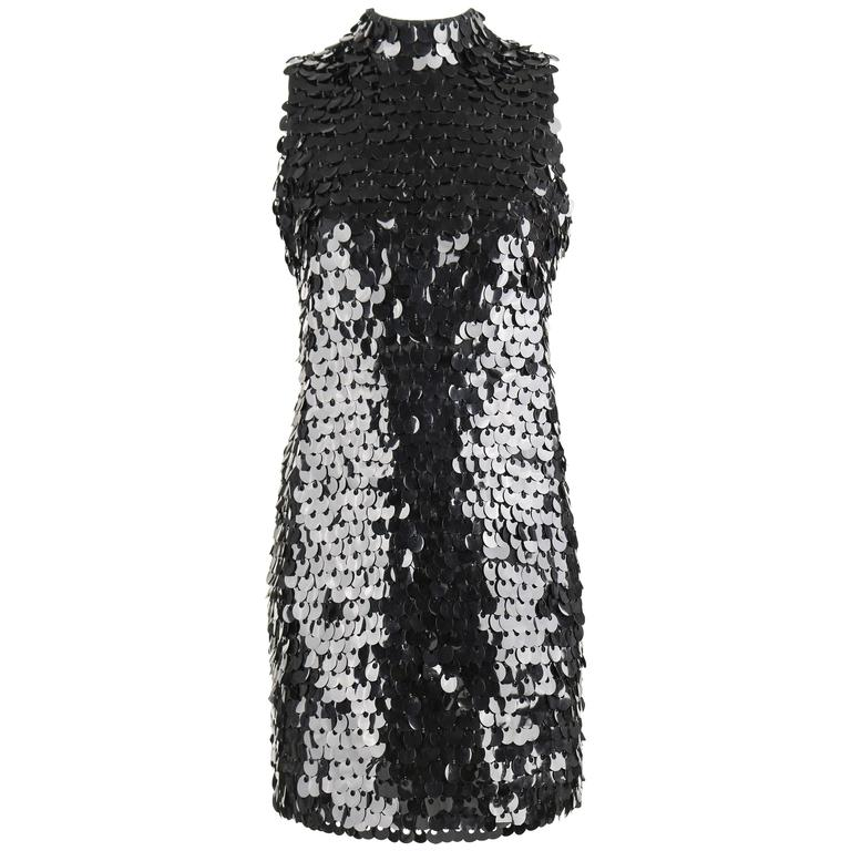 PIERRE BALMAIN c.1960's Black Paillette Hanging Knit Shift Cocktail Go Go Dress For Sale