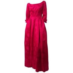 50s Magenta Rose Jacquard Gown