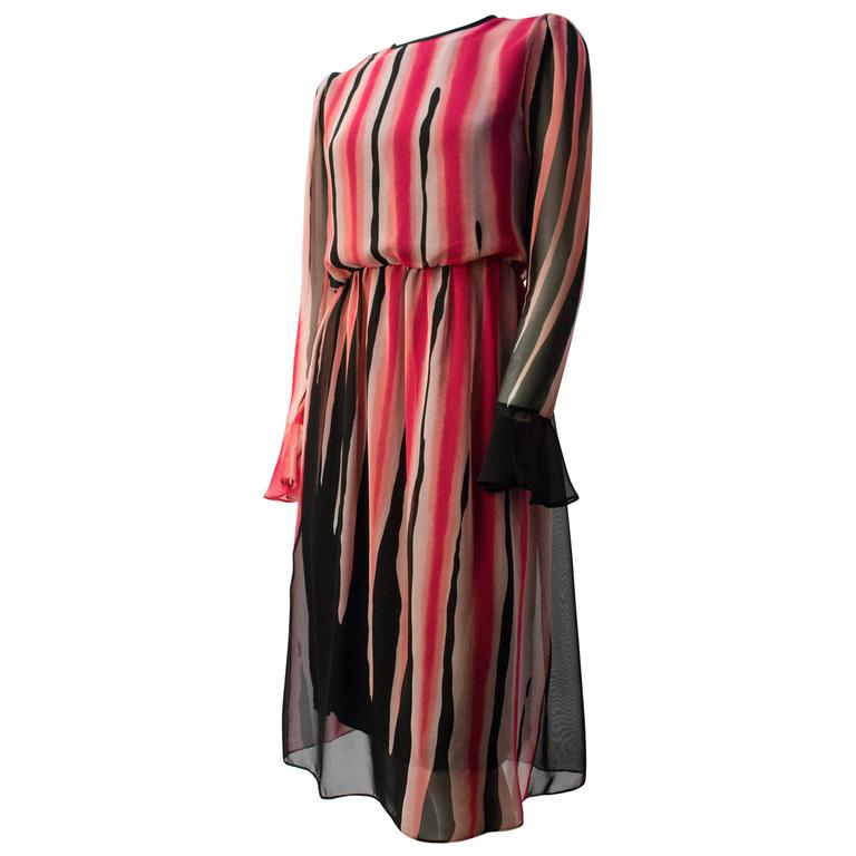 80s Hanae Mori Printed Silk Chiffon Magenta and Black Dress