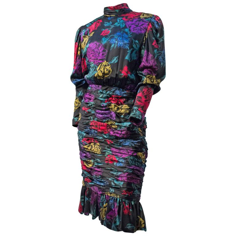 80s Albert Nipon Black Printed Satin Floral Dress