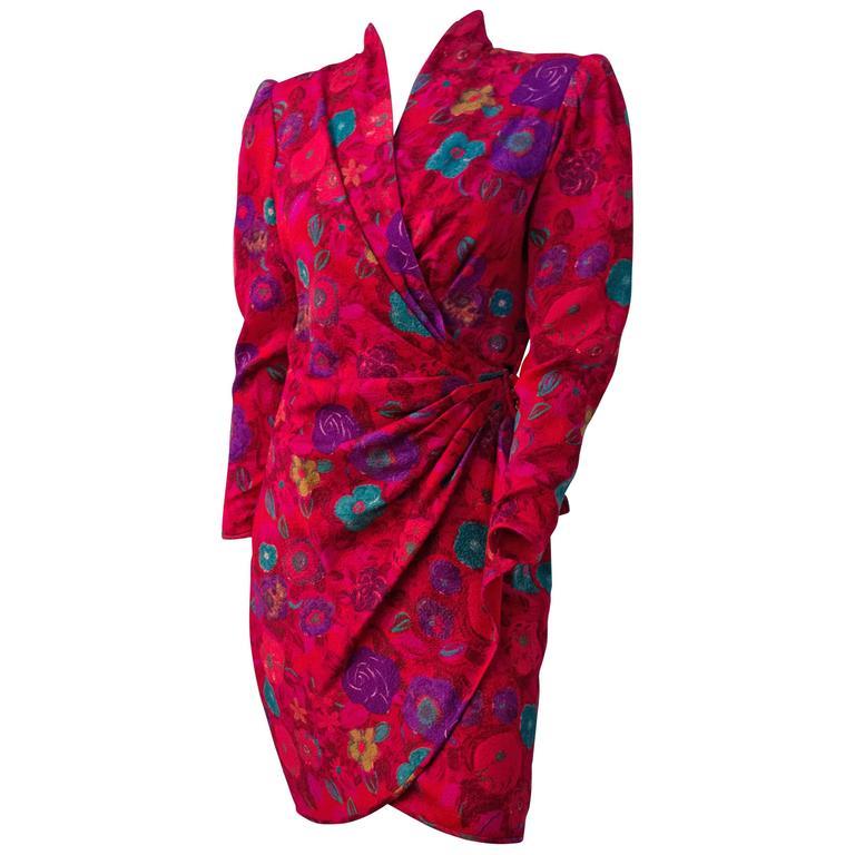 80s Ungaro Magenta Print Dress