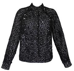Chanel Laser Cut Camellia Flower Black and White Bomber Jacket