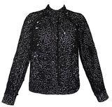 Chanel Laser Cut Camellia Flower Black and White Bomber Jacket