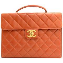 Chanel Dark Orange Quilted Leather Document Briefcase Hand Bag