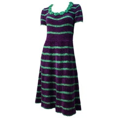 40s Green and Purple Stripe Chenille Yarn and Ribbonwork Dress