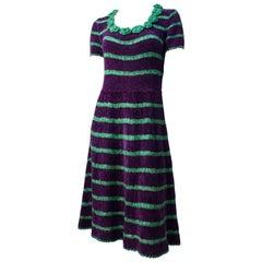 40s Green and Purple Stripe Chenille Yarn and Ribbonwork Dress