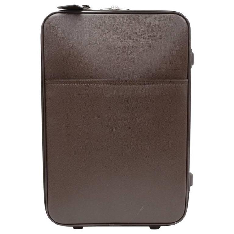 Louis Vuitton Pegase 60 Brown Taiga Leather Travel Rolling Luggage For Sale