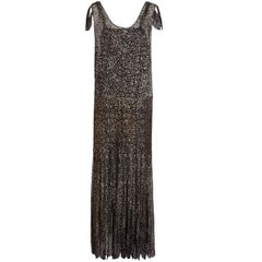 1930s Black & Gold Floral Lace French Lame Dress