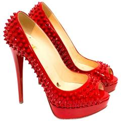 Christian Louboutin Red Spiked Patent Leather Peep-Toe Pumps