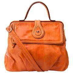 Zagliani Orange Python Large Hobo Bag
