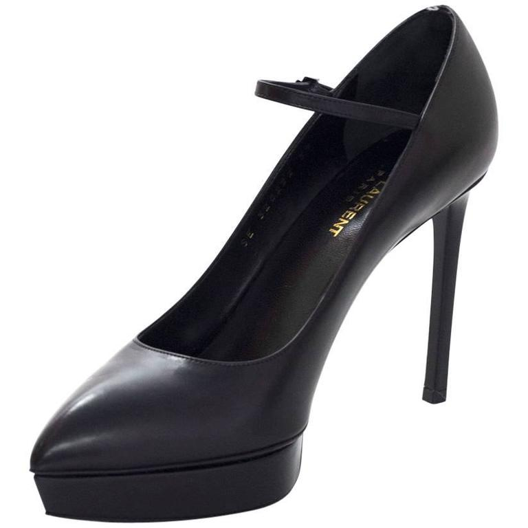 Saint Laurent Black Leather Janis Mary Jane Pump sz 39 For Sale