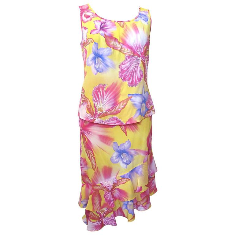 Escada Yellow Pink Blue Silk Tropical Floral Printed Silk Skirt and Blouse Set 1