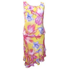 Escada Yellow Pink Blue Silk Tropical Floral Printed Silk Skirt and Blouse Set
