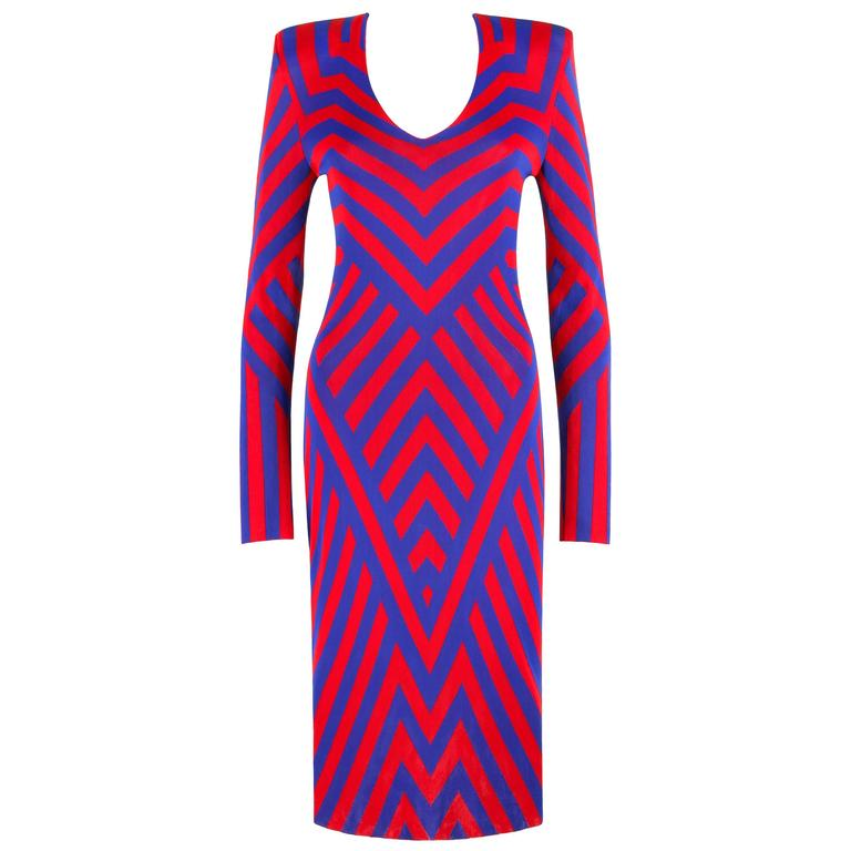 ALEXANDER McQUEEN Resort 2010 Red & Blue Chevron Op Art Knit Sheath Dress