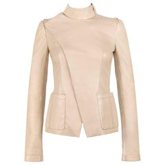 BALENCIAGA Pre-Fall 2010 Beige Lambskin Leather Asymmetrical Closure Jacket