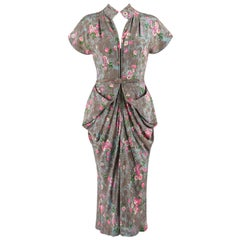 COUTURE c.1940's Gray Floral Print Silk Belted Front Bustle Draped Day Dress