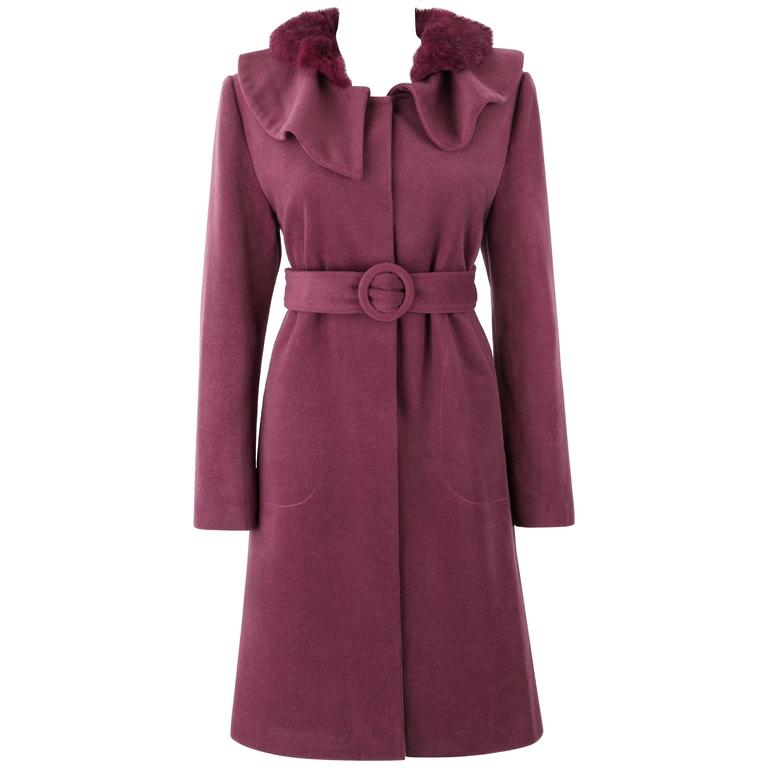 FENDI A/W 2005 KARL LAGERFELD Purple Cashmere Detachable Rex Fur Collar Coat