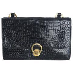 Hermes Black Crocodile Handbag with Ring Closure circa 1960s