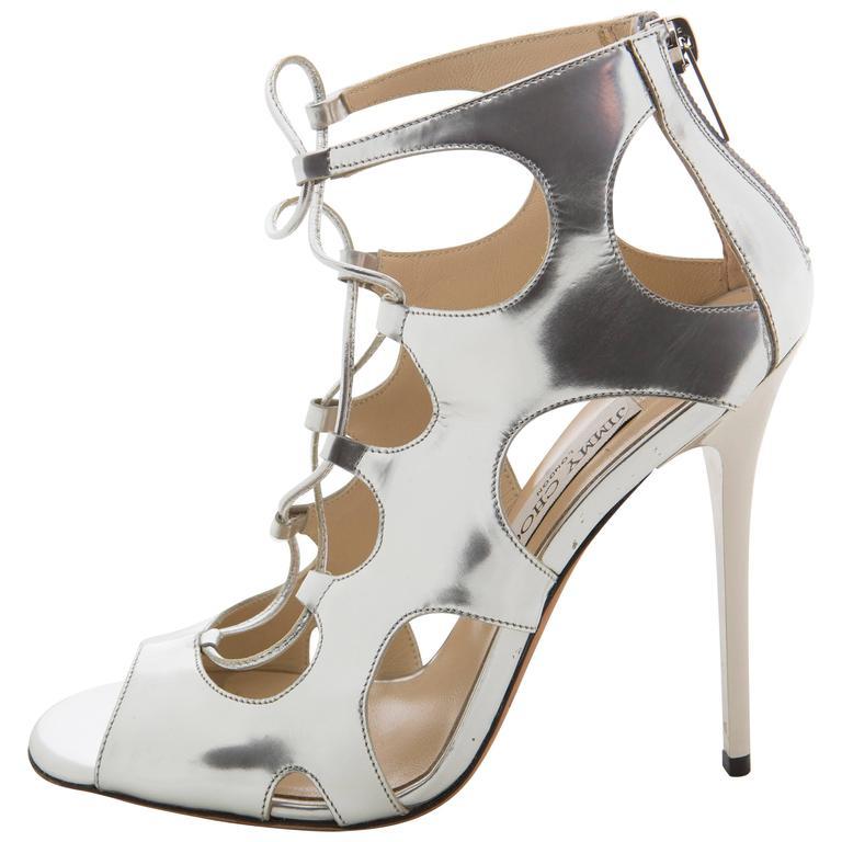 Jimmy Choo Silver Metalic Patent Leather Stiletto