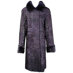 Fendi Long Broadtail Coat with Mink Collar and Cuffs, Modern