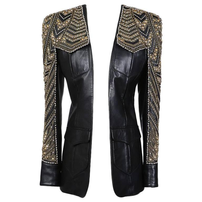 Balmain Embellished Leather Jacket, Modern 1