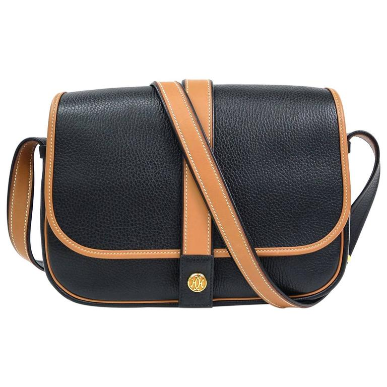 Hermes Vintage Black Cognac Tan Two Tone Box Flap Crossbody Bag For Sale 2d42a58c57
