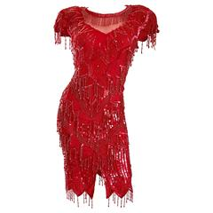Incredible Lipstick Red Silk Sequin Beaded Flapper Style Vintage Cocktail Dress