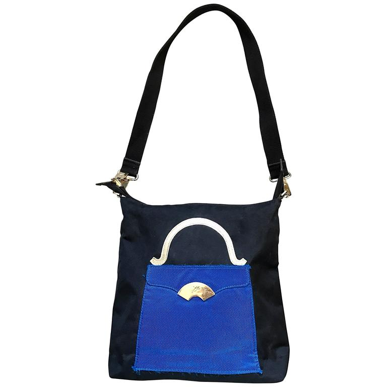 Amazing Vintage Karl Lagerfeld Trompe L'Oeil Black and Blue 1990s Shoulder Bag 1