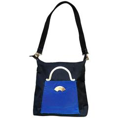 Amazing Vintage Karl Lagerfeld Trompe L'Oeil Black and Blue 1990s Shoulder Bag