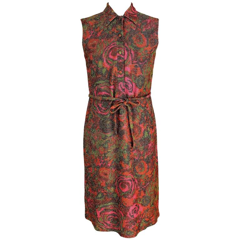 Sorelle Fontana 1960s sleveless dress gleaming metallic floral red wool size 42 For Sale