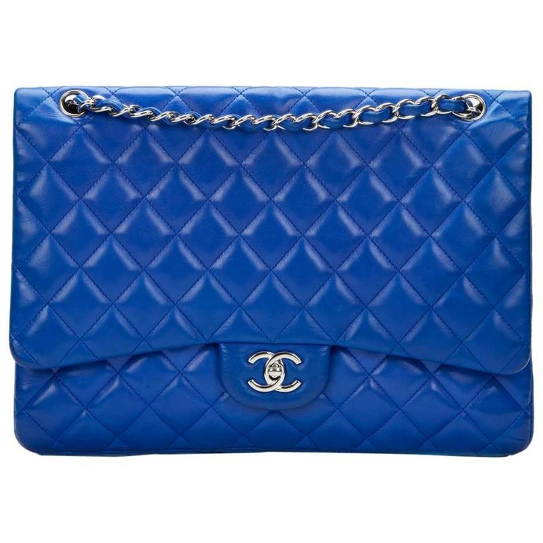 2000s Chanel Electric Blue Maxi Classic Single Flap Bag 1