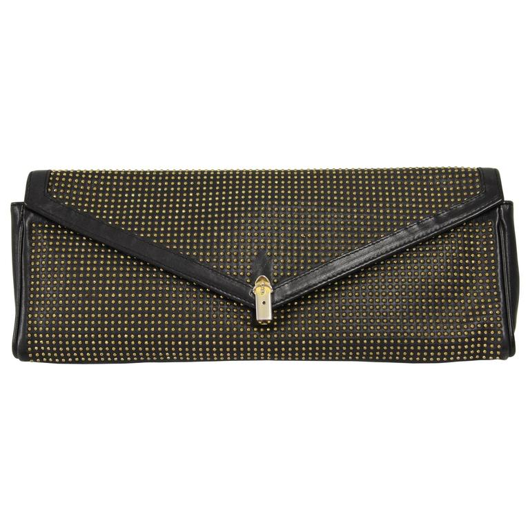 1980s Roberta di Camerino Studded Leather Clutch For Sale