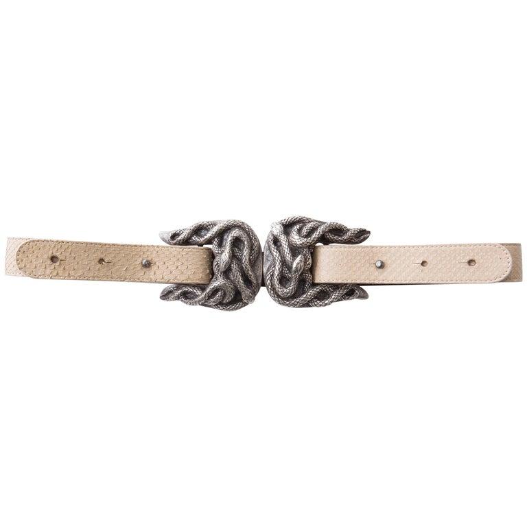 Roberto Cavalli Python Belt With Adjustable Snake Buckle For Sale
