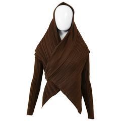 1980s ISSEY MIYAKE Brown Sash Collar Pleateds Blouse Jacket