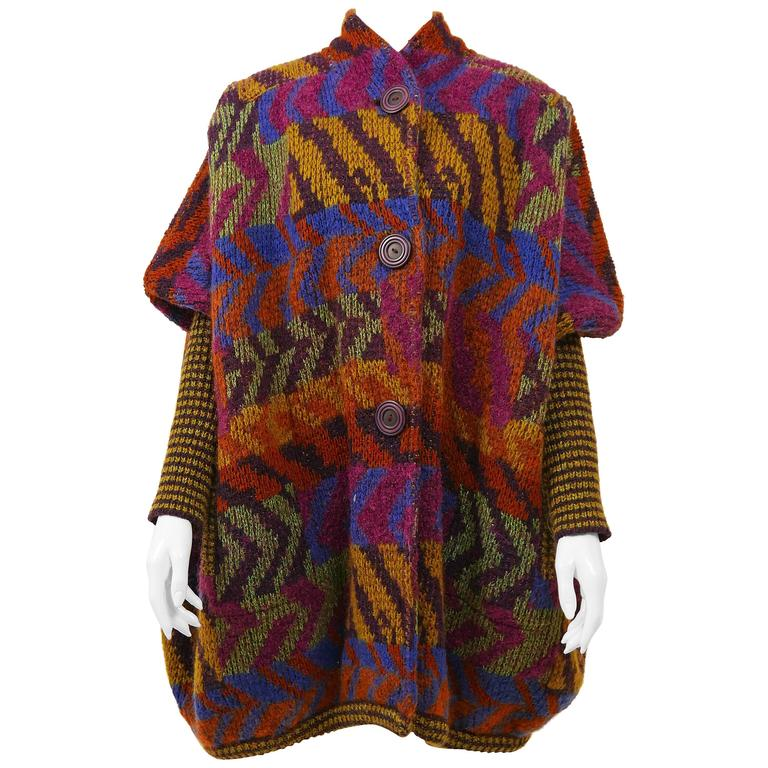 1980s MISSONI Knitted Wool Oversize Sweater Jacket 1