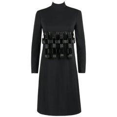 GEOFFREY BEENE c.1960's Black Wool Three Dimensional Ribbon Chain Cage Dress