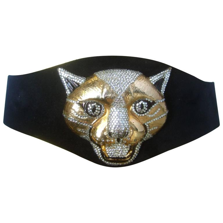 Spectacular Massive Jeweled Suede Panther Buckle Belt c 1970 For Sale