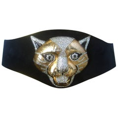 Spectacular Massive Jeweled Suede Panther Buckle Belt c 1970