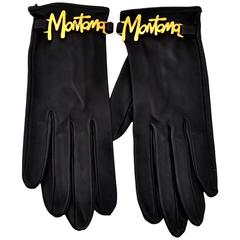 1980s Vintage Claude Montana Black Leather Gloves