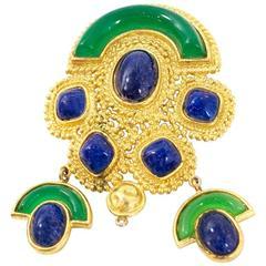Christian Dior Vintage Gold Green & Lapis Brooch/Pendant