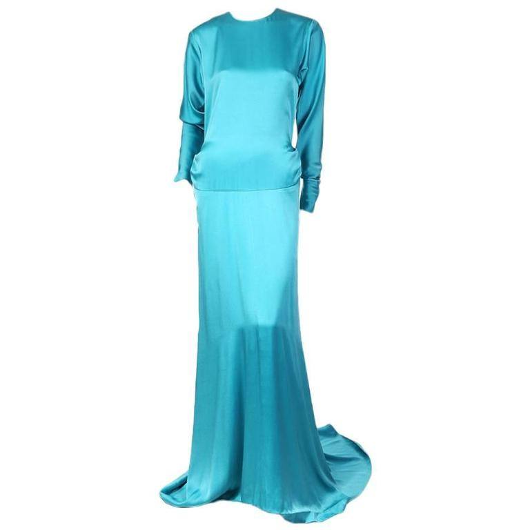 Yves Saint Laurent Turquoise Silk Gown circa 1980s