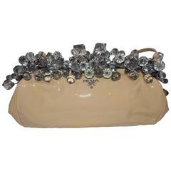Prada nude Patent Leather Crystal Encrusted Clutch Bag