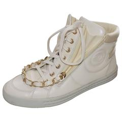 Chanel 37.5   High Top Sneakers shoes  with  Chain winter white