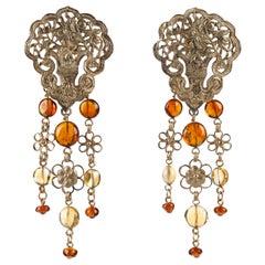 STEPHEN DWECK c.1990's Sterling 14K Gold Large Floral Chandelier Amber Earrings