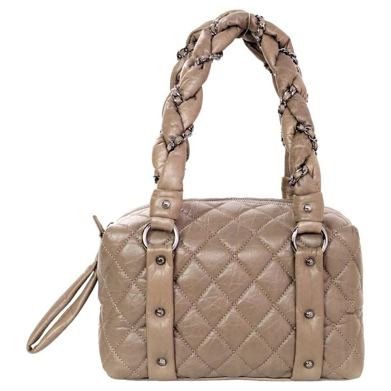 Chanel Taupe Quilted Leather Lady Braid Satchel Bag For Sale