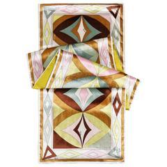 EMILIO PUCCI A/W 2004 Multicolor Geometric Op Art Velvet Print Oblong Scarf