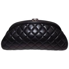 Chanel Lamb leather quilted  Half moon  timeless clutch bag