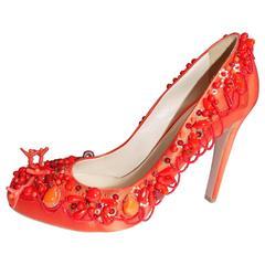 Prada Raso Ricamo all beaded coral shoes Must Have sz 9! NIB