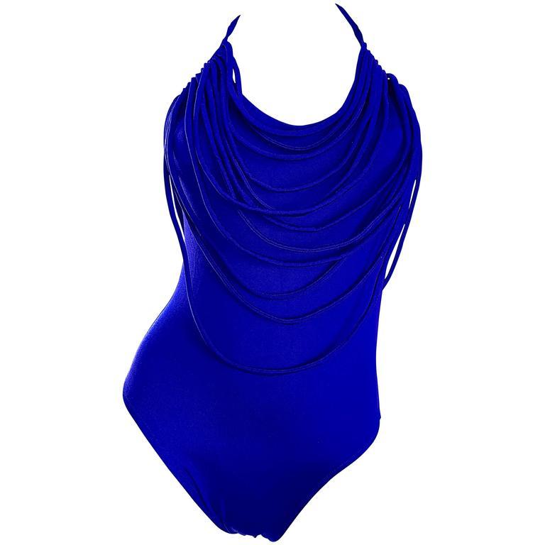 3c96750b1e Amazing Vintage Bill Blass Royal Blue Avant Garde One Piece Swimsuit  Bodysuit For Sale at 1stdibs