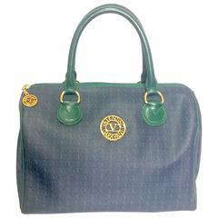 Vintage Valentino Garavani blue and green speedy handbag with logo motifs.